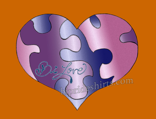 Bi Love puzzle heart tshirt in bi pride colors