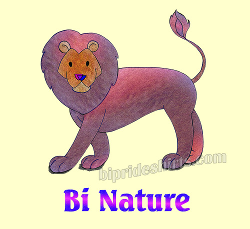 Bi Nature bisexual lion tee shirt design